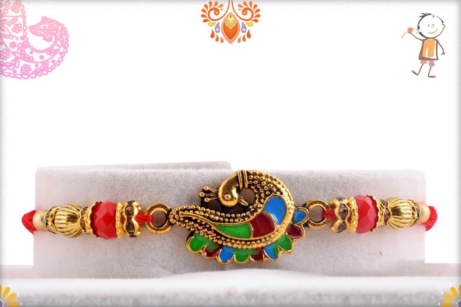 Beautiful Meenakari Peacock Rakhi 3