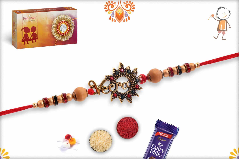 Stunning Veera Rakhi with Diamonds | Send Rakhi Gifts Online 3