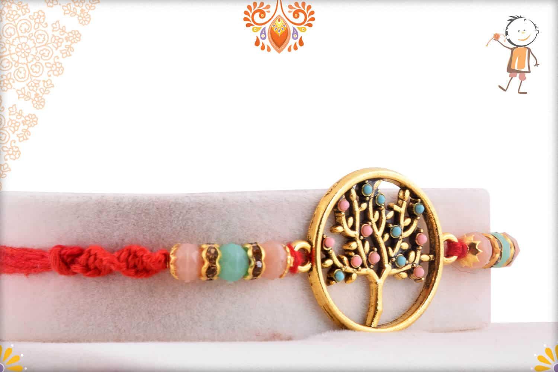 Beautiful Tree of Life Rakhi with Pastel Beads | Send Rakhi Gifts Online 2