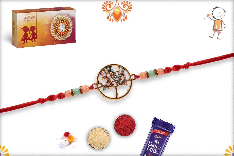 Beautiful Tree of Life Rakhi with Pastel Beads | Send Rakhi Gifts Online 3