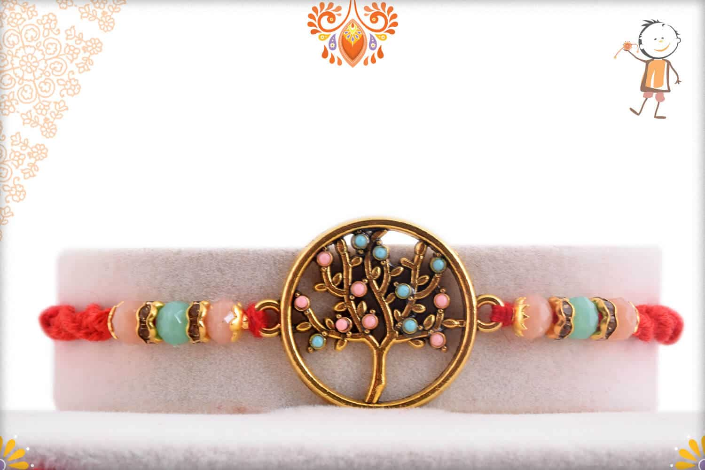Beautiful Tree of Life Rakhi with Pastel Beads | Send Rakhi Gifts Online 1