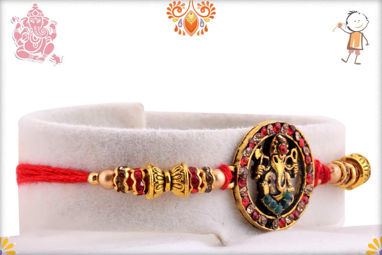 Antique Ganeshji Rakhi with Red Diamonds | Send Rakhi Gifts Online 2
