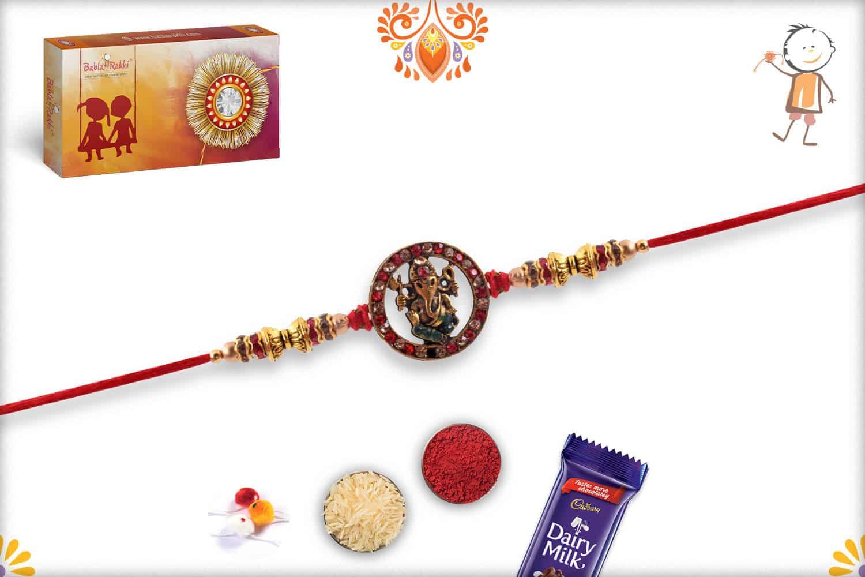 Antique Ganeshji Rakhi with Red Diamonds | Send Rakhi Gifts Online 3