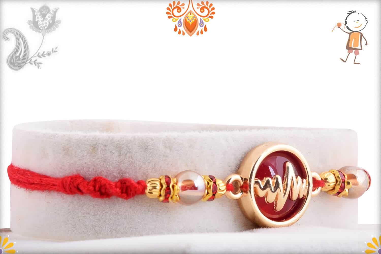 Heart Beat Rakhi with Red Stone | Send Rakhi Gifts Online 2