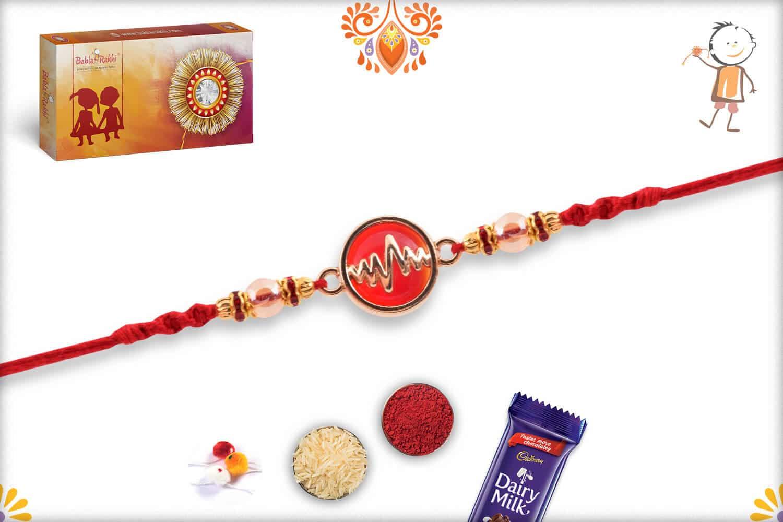 Heart Beat Rakhi with Red Stone | Send Rakhi Gifts Online 3