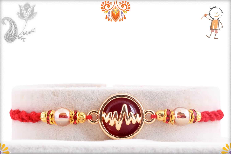 Heart Beat Rakhi with Red Stone | Send Rakhi Gifts Online 1