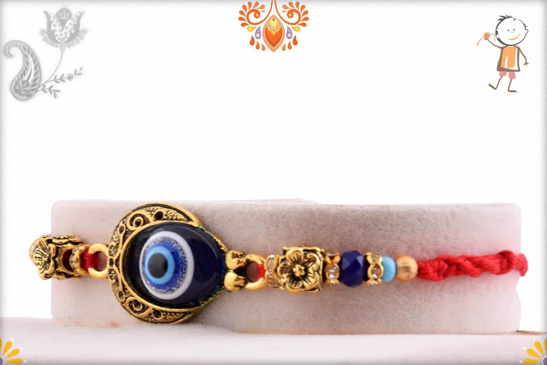 Evil Eye Rakhi with Flower Beads 2