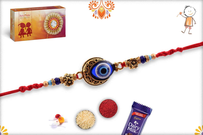Evil Eye Rakhi with Flower Beads 3