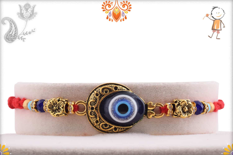 Evil Eye Rakhi with Flower Beads 1