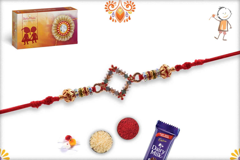 Beautiful Pastel Diamond Shape Rakhi   Send Rakhi Gifts Online 2