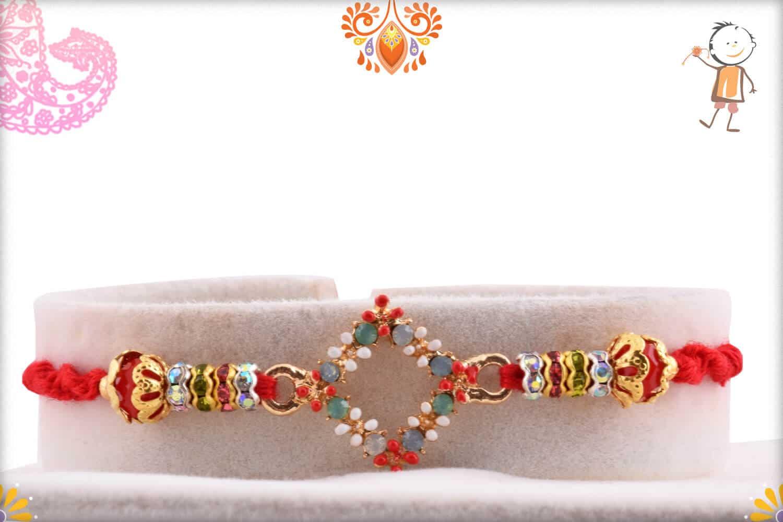 Beautiful Pastel Diamond Shape Rakhi   Send Rakhi Gifts Online 1