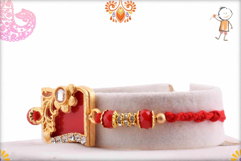 Solid Red Diamond Rakhi with Crystal Bead 2