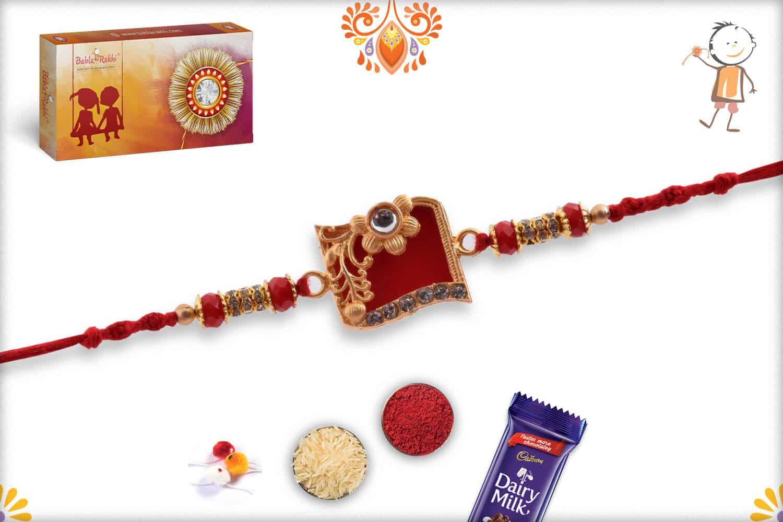 Solid Red Diamond Rakhi with Crystal Bead 3