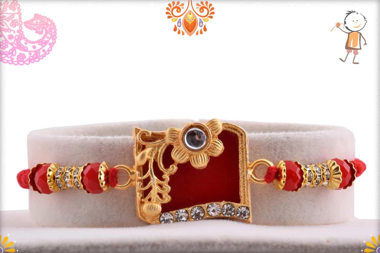 Solid Red Diamond Rakhi with Crystal Bead 1