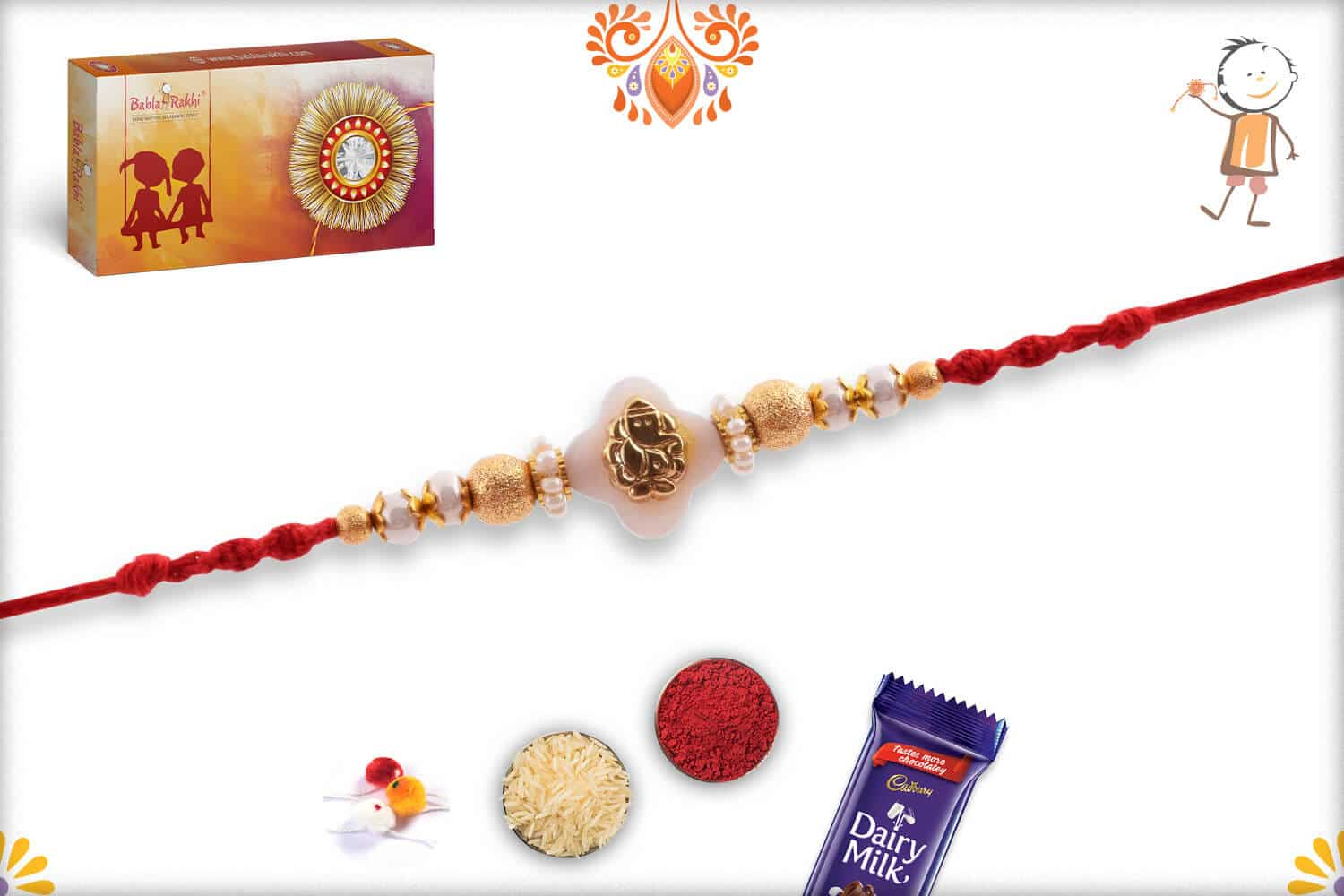 Golden Ganpati Rakhi with Beautiful Pearl and Golden Beads 2