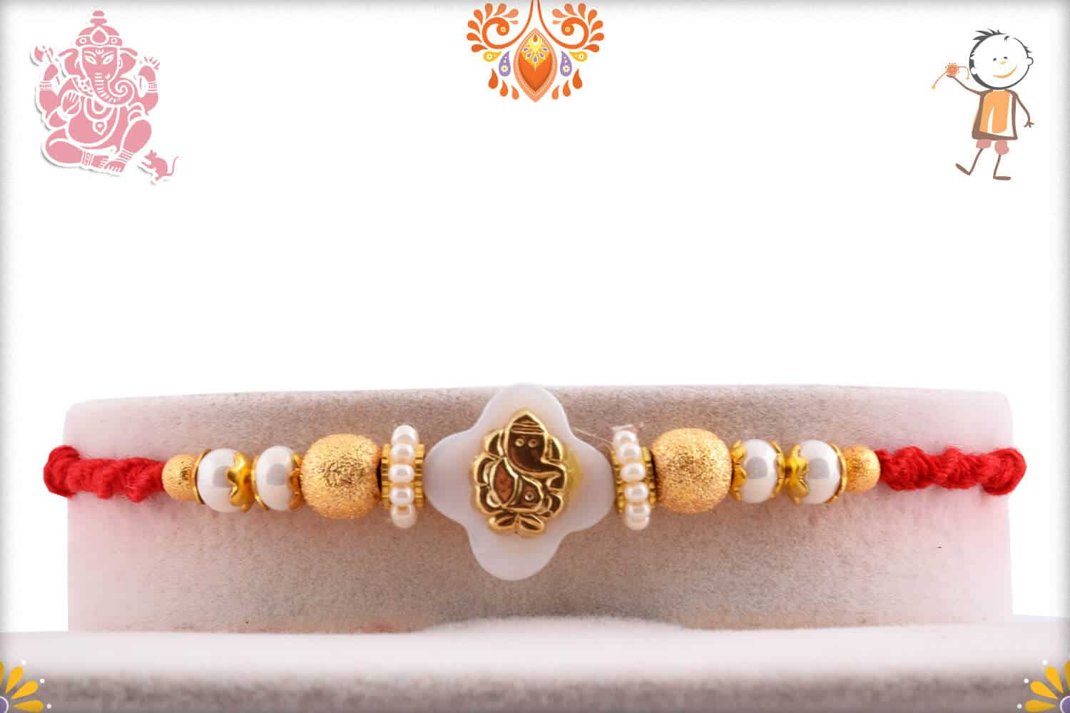 Golden Ganpati Rakhi with Beautiful Pearl and Golden Beads 1
