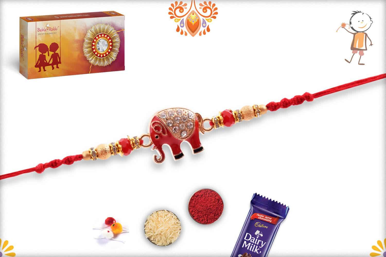 Amazing Red Elephant Rakhi with Diamonds   Send Rakhi Gifts Online 2