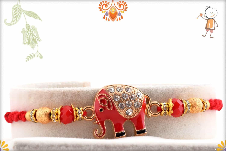 Amazing Red Elephant Rakhi with Diamonds   Send Rakhi Gifts Online 1