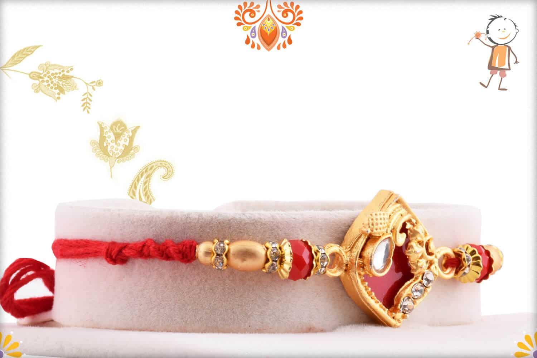 Designer Red Rakhi with Golden Beads 2