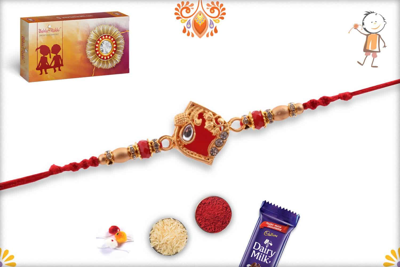 Designer Red Rakhi with Golden Beads 3