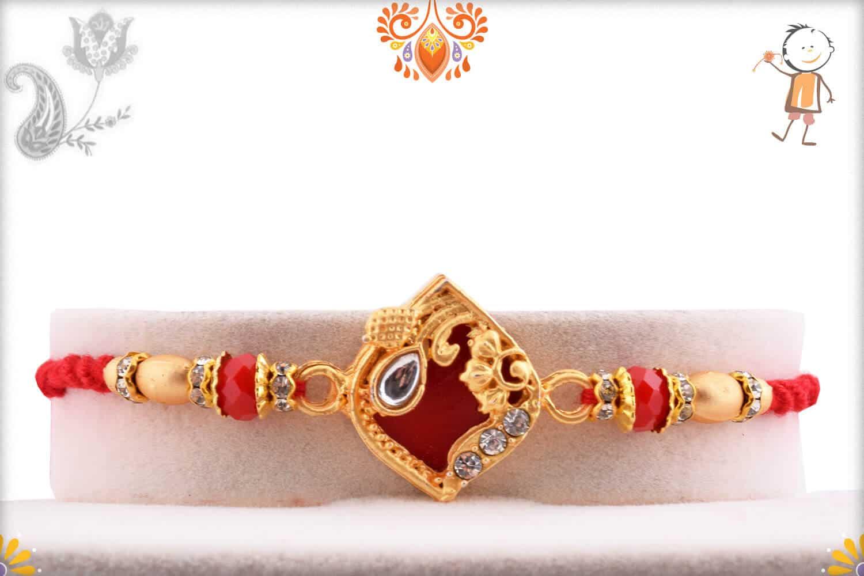 Designer Red Rakhi with Golden Beads 1