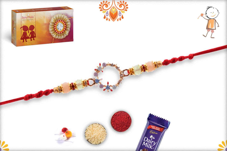 Stunning Round Pastel Diamond Rakhi 2