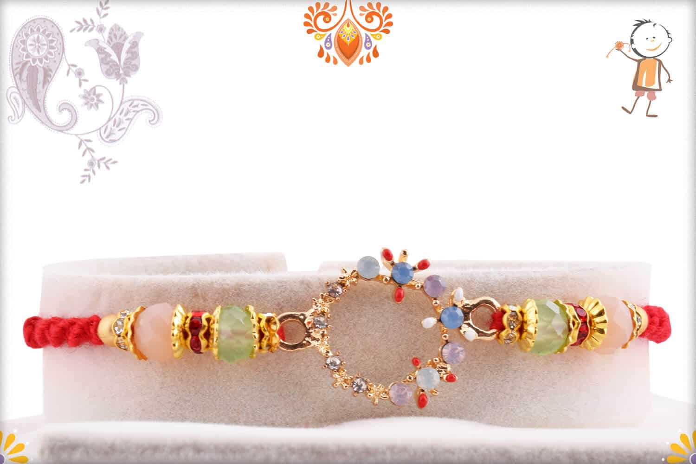 Stunning Round Pastel Diamond Rakhi 1