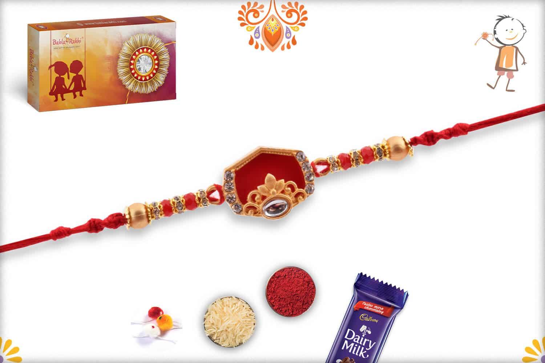 Designer Hexagon Red Rakhi with Golden Beads | Send Rakhi Gifts Online 3