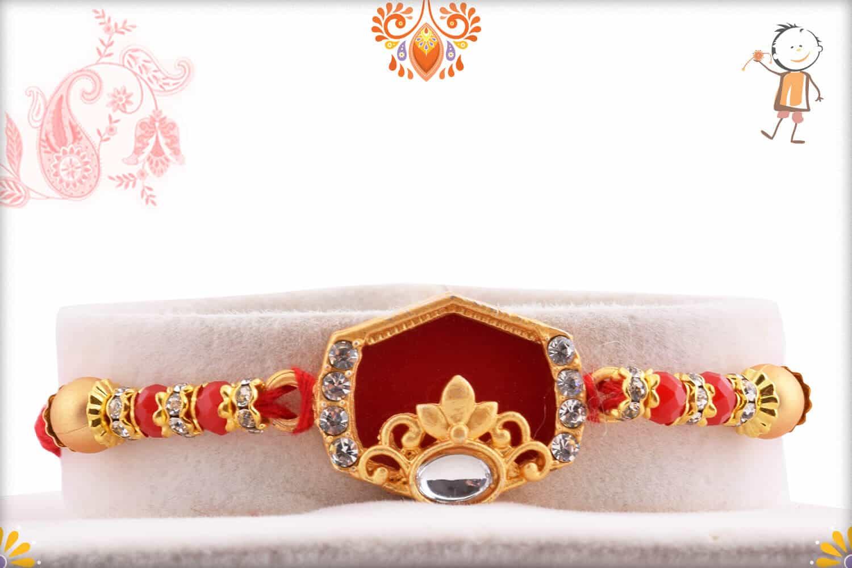 Designer Hexagon Red Rakhi with Golden Beads | Send Rakhi Gifts Online 1