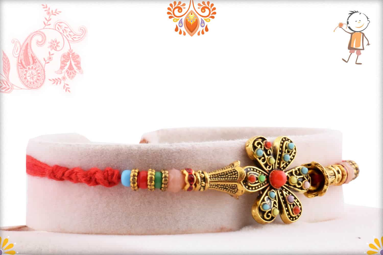 Antique Flower Rakhi with Pastel Beads 2