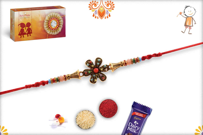 Antique Flower Rakhi with Pastel Beads 3