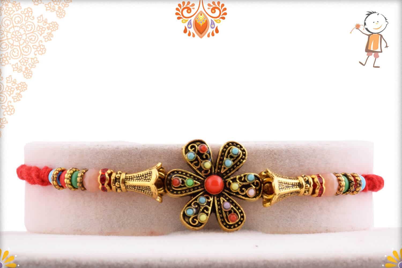 Antique Flower Rakhi with Pastel Beads 1