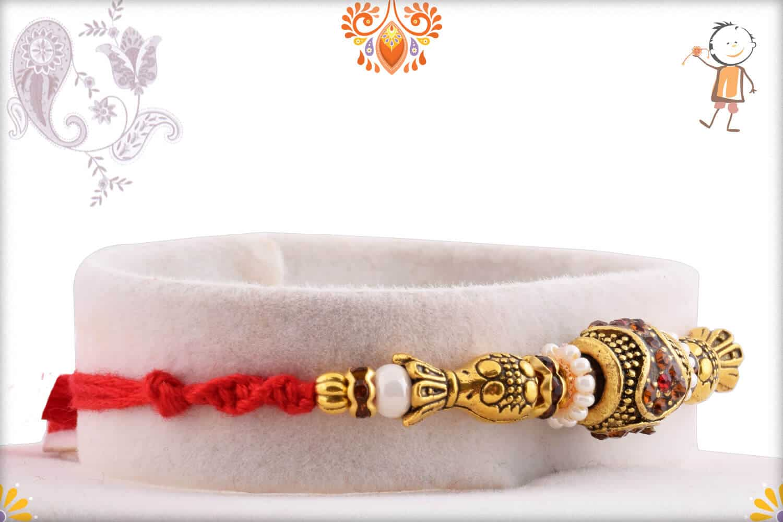 Antique Designer Bead Rakhi withy Pearl 2