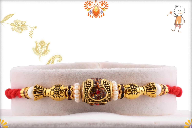 Antique Designer Bead Rakhi withy Pearl 1