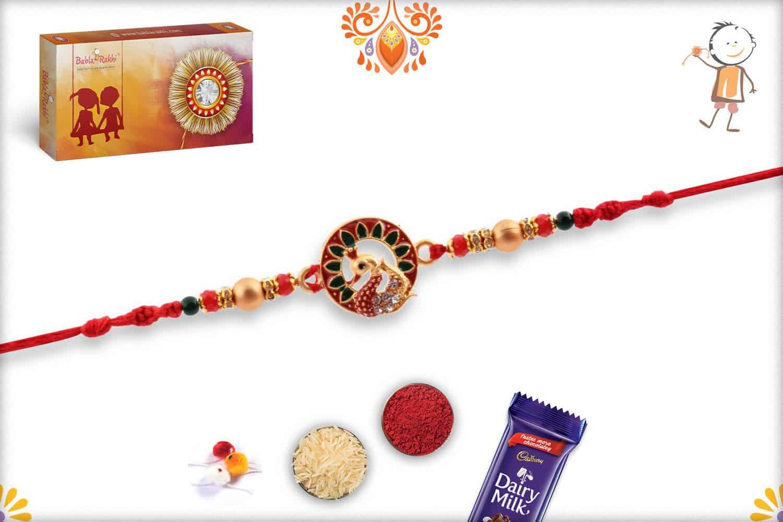 Unique Meenakari Peacock Rakhi with Diamonds | Send Rakhi Gifts Online 2