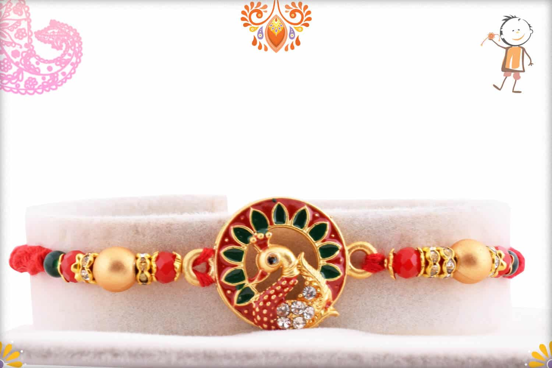 Unique Meenakari Peacock Rakhi with Diamonds | Send Rakhi Gifts Online 1