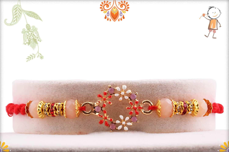 Exclisive Pastel Peach Rakhi   Send Rakhi Gifts Online 1