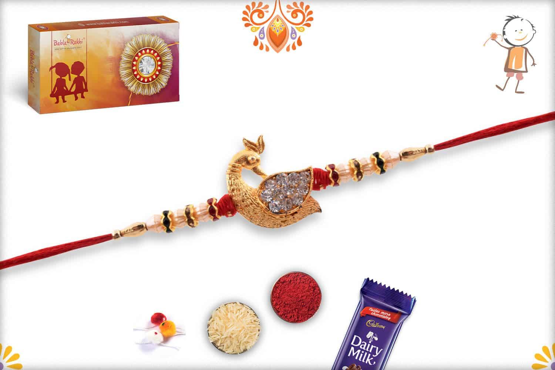 Diamond Peacock Rakhi with Pearls | Send Rakhi Gifts Online 3