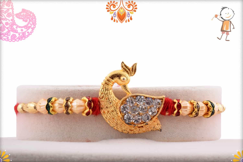 Diamond Peacock Rakhi with Pearls | Send Rakhi Gifts Online 1