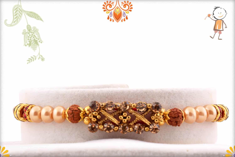 Designer Diamond Rakhi with Pearls and 2 Rudraksh | Send Rakhi Gifts Online 1