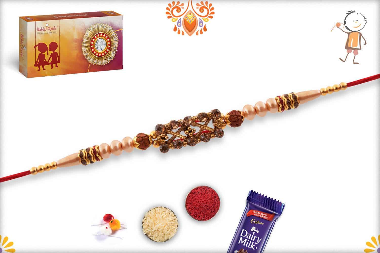 Designer Diamond Rakhi with Pearls and 2 Rudraksh | Send Rakhi Gifts Online 3