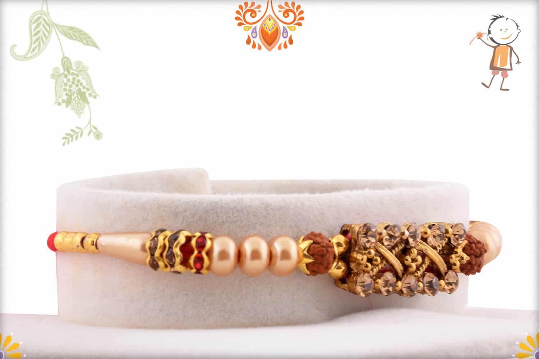 Designer Diamond Rakhi with Pearls and 2 Rudraksh | Send Rakhi Gifts Online 2