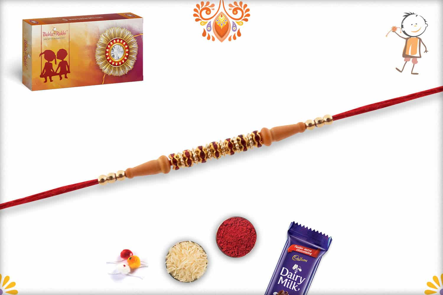 Traditional Red Diamond Rings Rakhi with Golden Beads 2