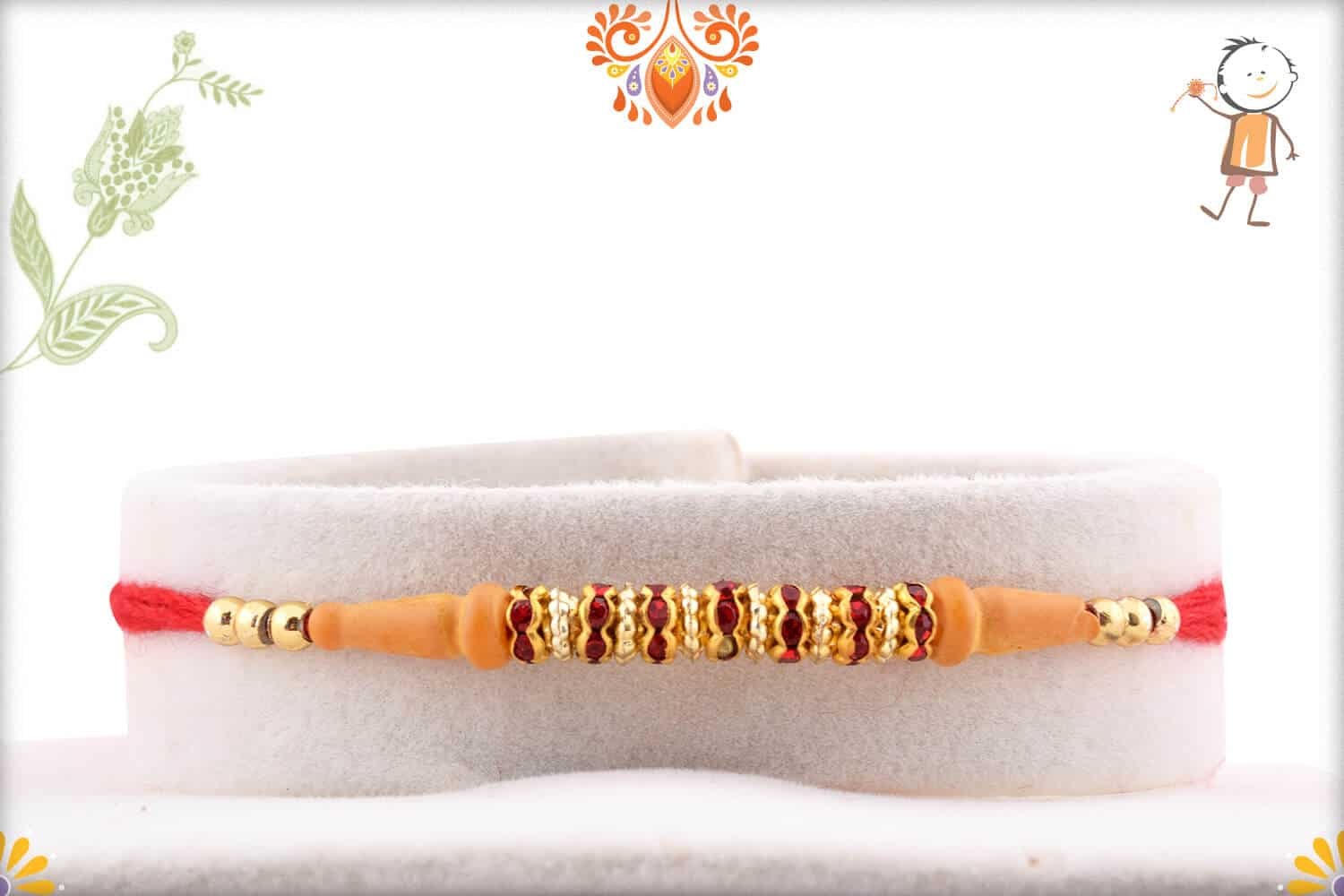 Traditional Red Diamond Rings Rakhi with Golden Beads 1
