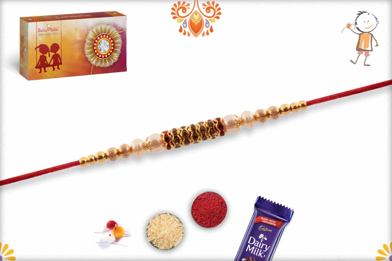Beautiful Diamond Ring Rakhi with Delicate Pearls | Send Rakhi Gifts Online 2