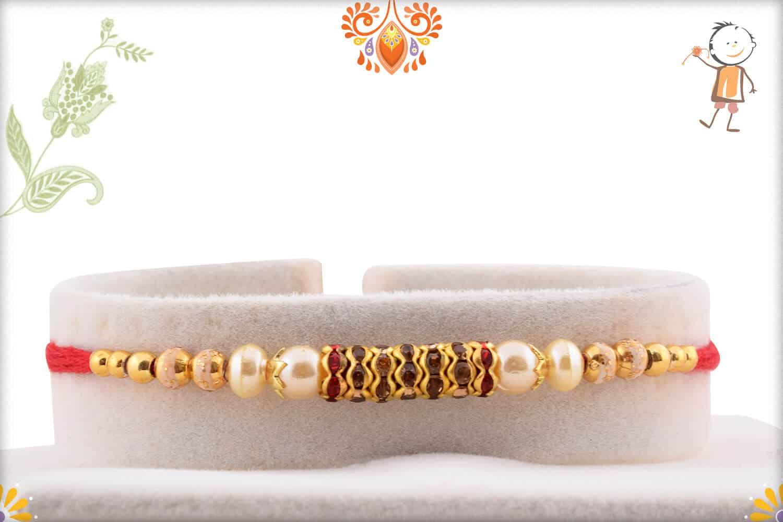 Beautiful Diamond Ring Rakhi with Delicate Pearls | Send Rakhi Gifts Online 1