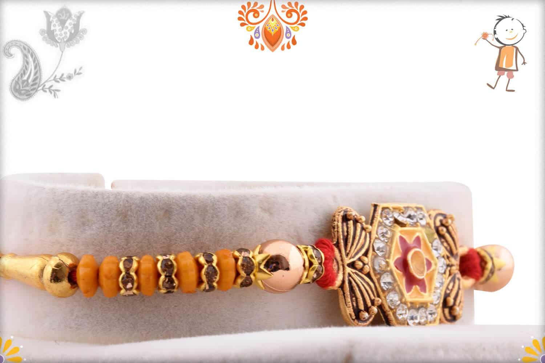 Hexagonal Diamond Rakhi with Golden Beads   Send Rakhi Gifts Online 2