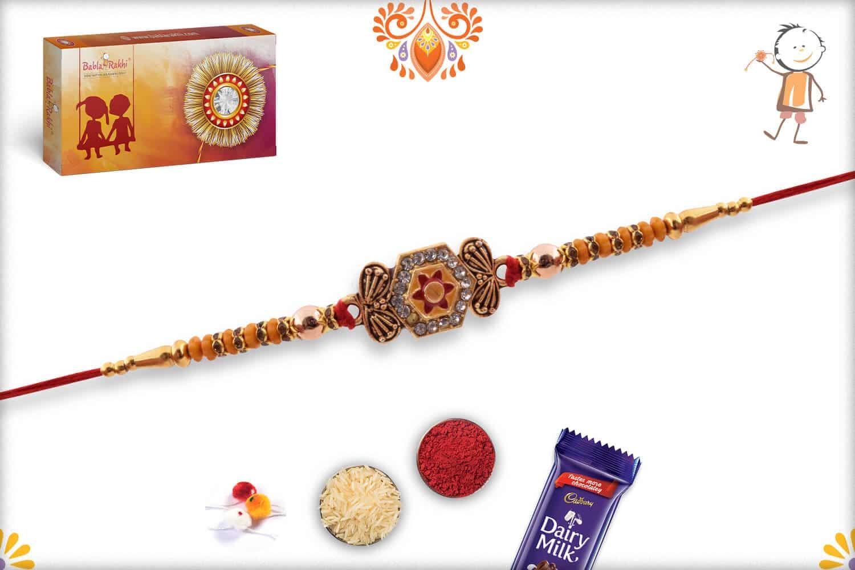 Hexagonal Diamond Rakhi with Golden Beads   Send Rakhi Gifts Online 3