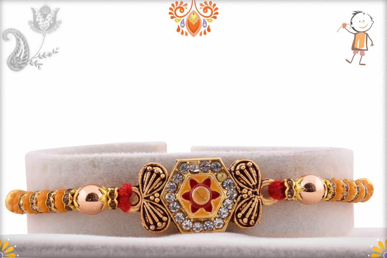 Hexagonal Diamond Rakhi with Golden Beads   Send Rakhi Gifts Online 1