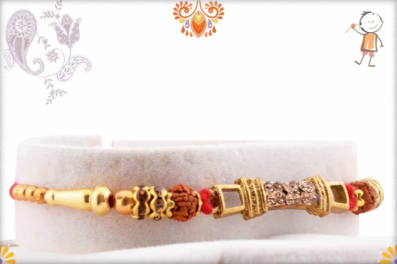 Premium Copper Diamond Rakhi with Auspicious Rudraksh   Send Rakhi Gifts Online 2
